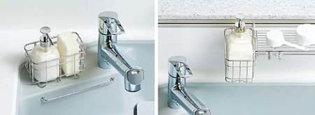 洗剤カゴは3箇所で設置可能